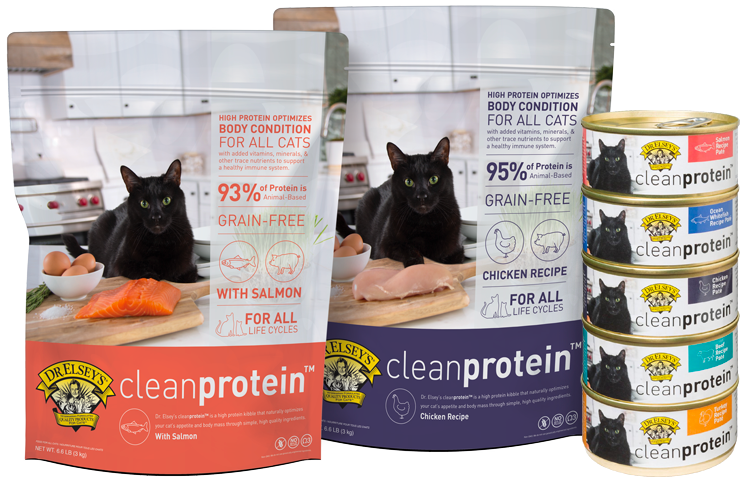 Dr. Elsey's Clean Protein food for cats in wet and dry.