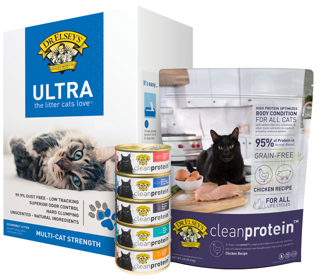 Dr. Elsey's litter and Clean Protein food products with a new look.