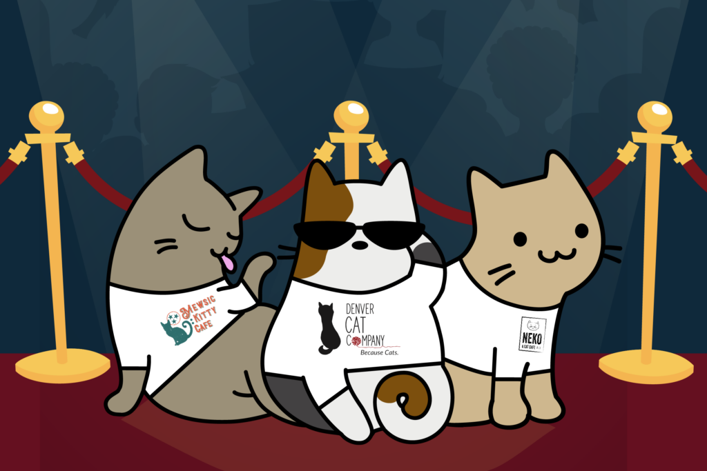 cartoon of three cats wearing cat café shirts