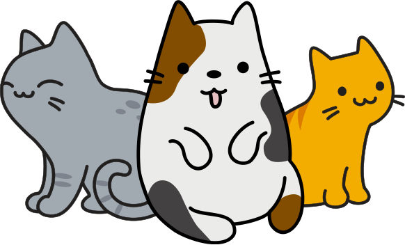 three cartoon cats at different life stages
