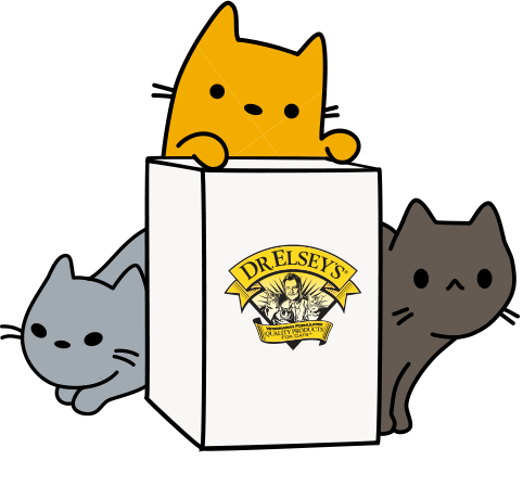 Cartoon cats around a box of Dr. Elsey's litter