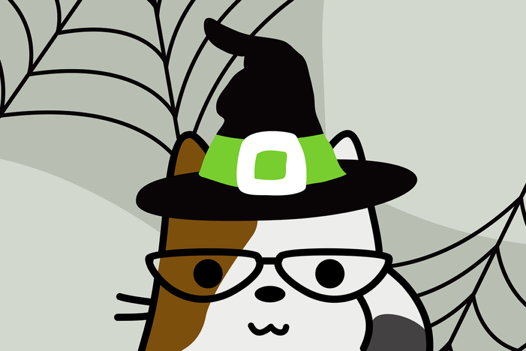 illustrated cat wearing a witch hat